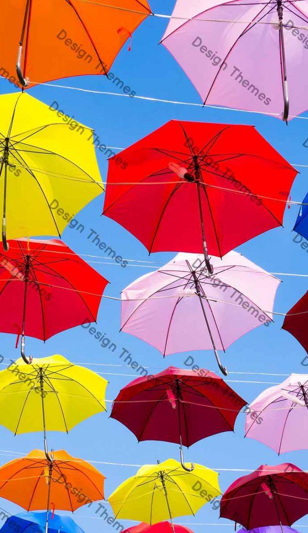 Colorful landing of umbrellas